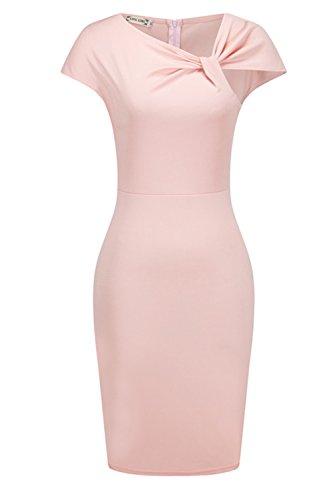 Vestido de Cóctel de la mujer Elegant sin mangas Bodycon Pink