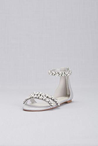David's Bridal Jeweled Metallic Ankle Strap Flat Sandals Style Alessia, Silver Metallic, 9