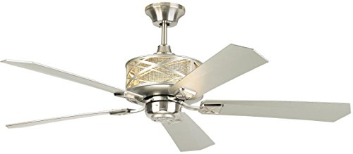 "Monte Carlo 5PPR54BS, Piper Brushed Steel Uplight 52"" Ceiling Fan with Wall & Remote Control"