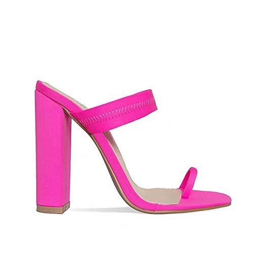 Bling Bling Women 2019 New Summer Sandals Slippers Thin High Heels Sandals Flip Flop Buckle Hollow Women Shoes Hollow Slippers Sexy Slides Pink