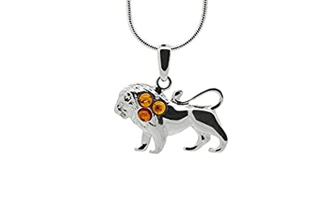 925 Sterling Silver Leo Zodiac Sign Pendant Necklace with Genuine Baltic Amber. Chain included (Unique Amber Pendant For Women)