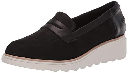 CLARKS Women's Sharon Ranch Penny Loafer Black Nubuck/Leather Combi 100 M US