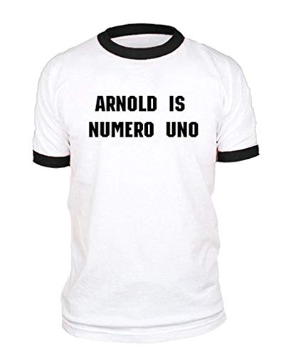 Arnold is Numero UNO - Weightlifting Champ - Cotton Ringer TEE Funny Design Arnold Is Numero Uno T-shirt