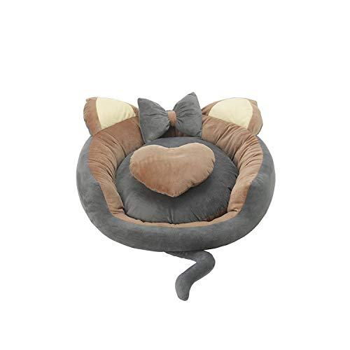 (Cute Ear Pet Cat Small Dog Kennel Cat Litter Bed Sofa Sleeping Mat Soft Fleece Pet Baskets Winter Warm Nest Puppy Chihuahua Bed,Grey-Coffee,78cm)