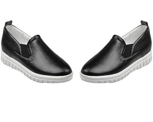 Chaussures Matière Femme à AgooLar GMBDB013273 Unie Mélangee Bas Noir Talon Légeres Couleur qpFn81