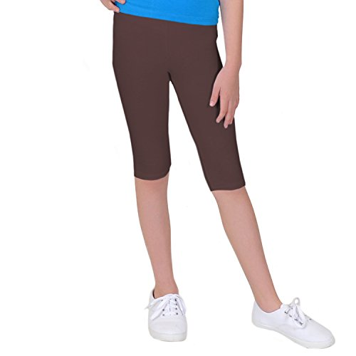 Stretch is Comfort Girl's Cotton Capri Leggings Brown (Girls Brown Stretch Leggings)