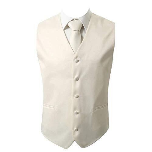 - Brand Q 3pc Men's Dress Vest NeckTie Pocket Square Set for Suit or Tuxedo Ivory M