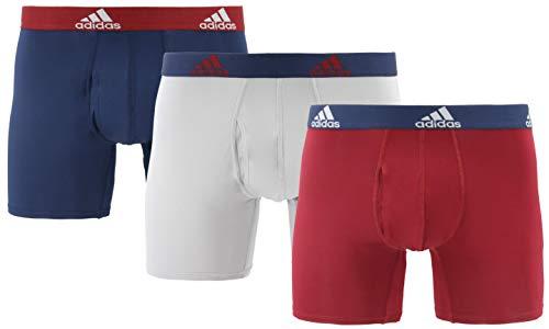 adidas Men's Performance Boxer Briefs Underwear (3-Pack), Collegiate Burgundy/Collegiate Navy Light Onix/Col, Large