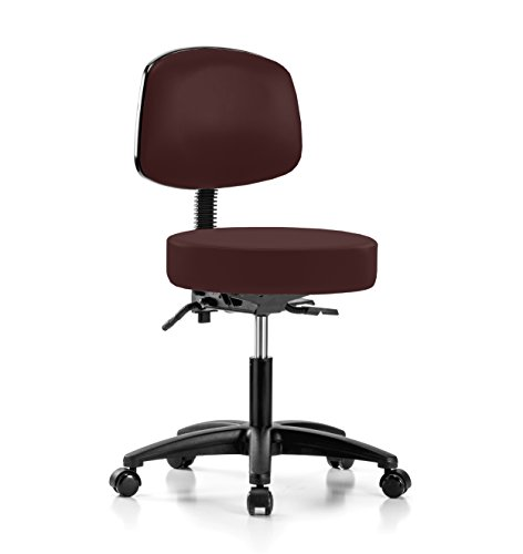PERCH Walter Rolling Height Adjustable Doctor's Stool with Back for Carpet or Linoleum | Desk Height | 300-Pound Weight Capacity | 12 Year Warranty (Burgundy Vinyl) -