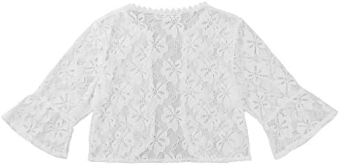 inlzdz Blusa de Chifon para Niñas Encaje Floral Camiseta