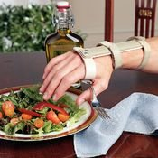 (Sammons Preston Wrist Support with Palmar Swivel Clip, Large, Right, Plastic Clip with Utensil Pocket, Ergonomic Wrist and Arm Support Aid for Limited Grasp, Tremors, Range of Motion, and Eating)