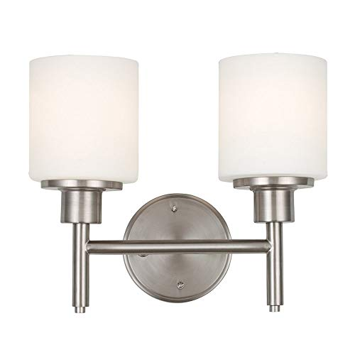Design House 556191 Aubrey Two-Light Wall Light with Frosted Glass, Satin Nickel - Light Nickel Sconce Two