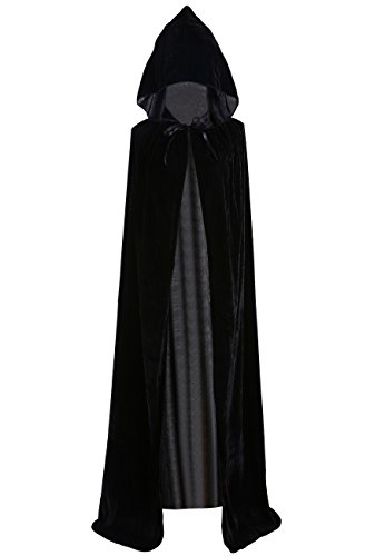 Evil Vampire Queen Costumes (Unisex Halloween Cloak Hoodie Velvet Vampire Witch Devil Cape Cosplay Costume Black 59
