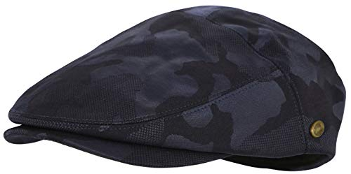 Men's Thick Cotton Summer Newsboy Cap SnapBrim Ivy Driving Stylish Hat (Camo Navy-2927, L/XL)