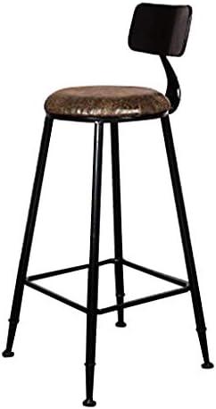 ホームバーチェアレトロバックバースツールメタルハイスツールキッチンレストランバーカウンターチェア、ブラック、高さ75cm YFQ-20-04-21