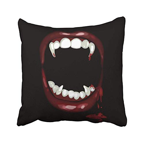 ZOZGETU Pillowcase,Decorative Pillowcases Bloody Vampire Fangs Halloween Throw Pillow Covers Cases Cushion Cover Case Sofa 18 X 18inches One -