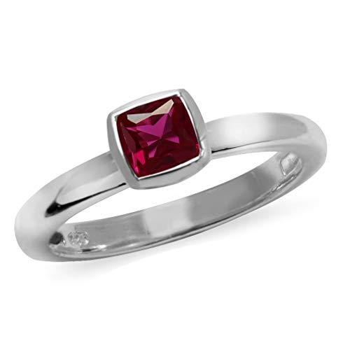 Silvershake Cushion Cut Created Ruby 925 Sterling Silver Stack Stackable Solitaire Ring Size 7 (Ruby Cushion Cut)