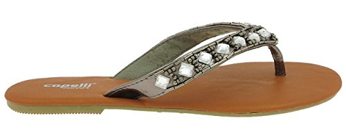 Capelli New York Metallic Faux Leather with Mixed Gems Ladies Flip Flops Pewter Grey tHIC1