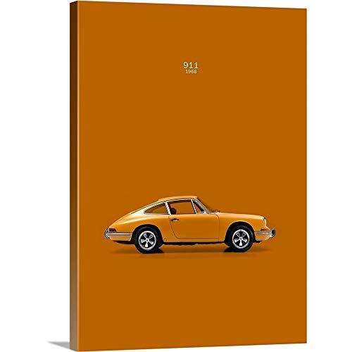 Mark Rogan Solid-Faced Canvas Print Wall Art Print Entitled Porsche 911 1968 Orange 18