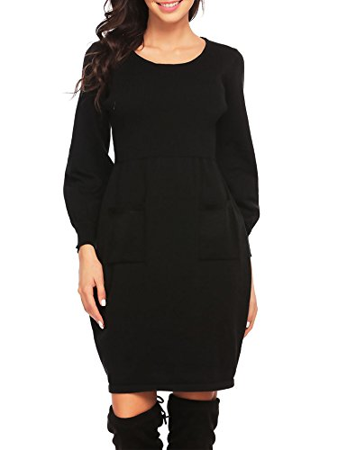 (OD'lover Womens Knit Sweater Long Sleeve Cowl Neck Midi Sweater Dress With Pocket)