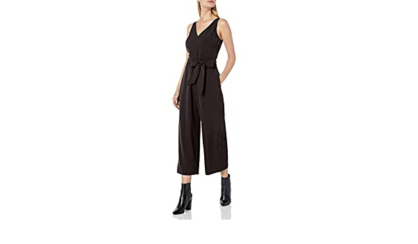 Tralounry Womens Spaghetti Strap Loose Solid Colored Sleeveless V-Neckline Romper Playsuit Jumpsuit