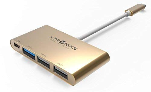 USB-C Adapter 4-in-1 with Type C, USB 3.0, USB 2.0 Ports for New MacBook or MacBook Pro 2017, ChromeBook and Other Type-C HUB Devices Connecting Adapter (Gold Pink)