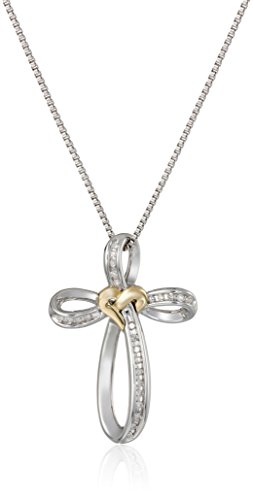 Sterling Silver and 14k Yellow Gold Diamond Love Knot Cross Pendant Necklace (.10cttw)