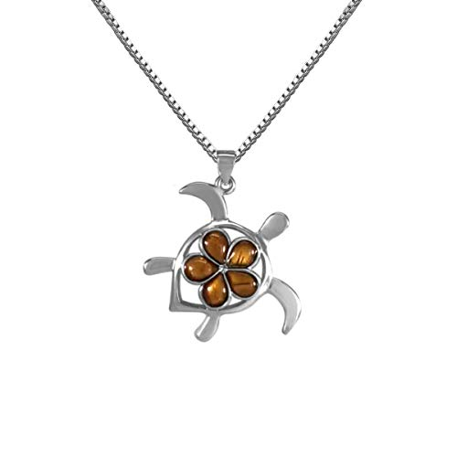 Sterling Silver Koa Wood Turtle with Plumeria Pendant with 18