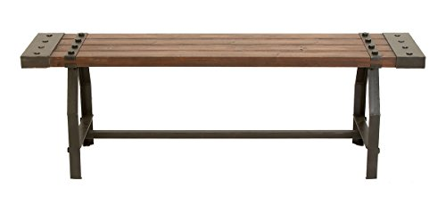 "Deco 79 51681 Industrial Black Metal & Brown Wood Bench, 55"" x 18"" by Deco 79 (Image #7)"