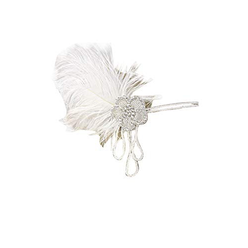 GLVSZ 1920s Flapper Headband For Women 20s Great Gatsby Headpiece Feather Headband 1920s Flapper Gatsby Accessories with Crystal White Feather AA -