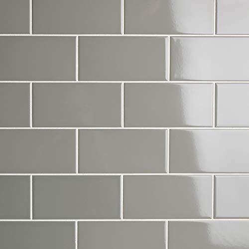 Glossy Tile Flooring - SomerTile WXR3PSWG Pente Subway Ceramic Wall, 3