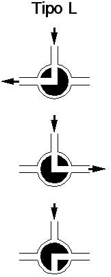 Rosca 1//2 H-H-H Paso T 3 v/ías V/álvula de bola de lat/ón