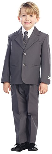 Avery Hill 5-Piece Boy's 2-Button Dress Suit Full-Back Vest - Charcoal Grey Size 7