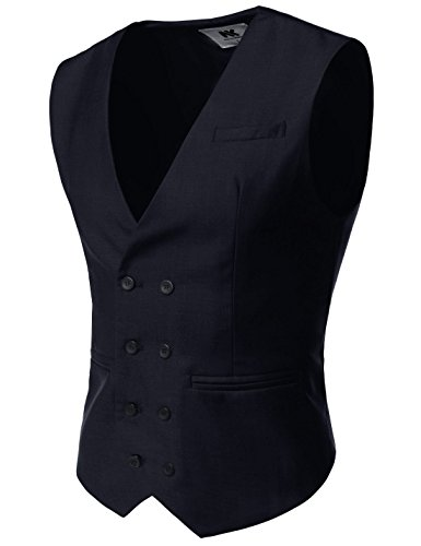 NEARKIN (NKNKVE603) Beloved Mens Double Breasted 8 Button Classic Formal Waistcoat NAVY US S(Tag size S)