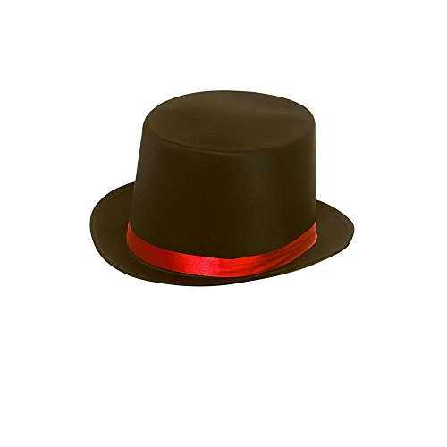 Adults Day of the Dead Black Satin Top Hat with Red Band Fancy Dress Accessory (Band Black Top Hat)
