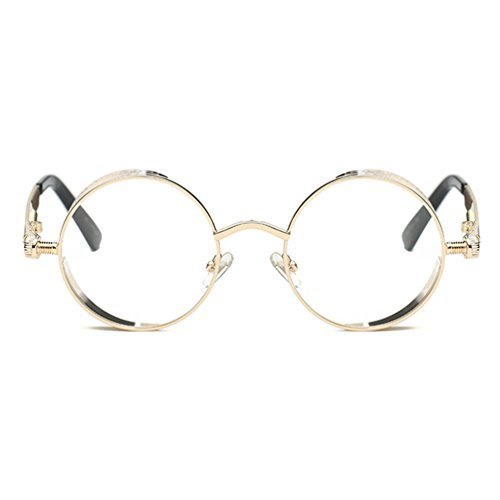 Armear Steampunk Clear Lens See Through Sunglasses Women Men Circle Metal Frame (Gold frame,clear lens, - Glasses Fake Cool