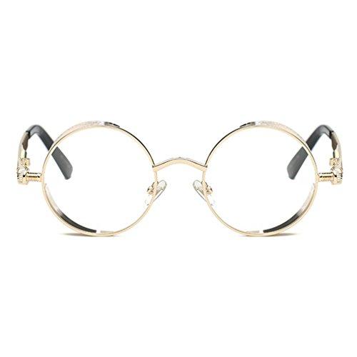 Armear Steampunk Clear Lens See Through Sunglasses Women Men Circle Metal Frame (Gold frame,clear lens, - Non Through See Sunglasses