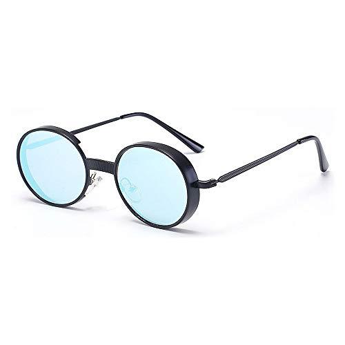 style d'unisexe conduite designer adulte la voyageant Lunettes protection la Bleu de UV d'été pour de Couleur brillants rondes plage Bleu de de Punk nouveauté nuances la Metallic extérieure soleil PT5xHw