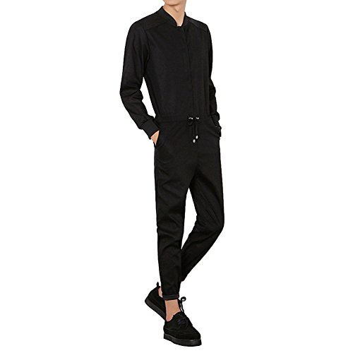 f29b26008dea YOUMU Men Long Sleeve Zip up Romper Jumpsuit Playsuit Streetwear Boilersuit Overalls  One Piece Black (M
