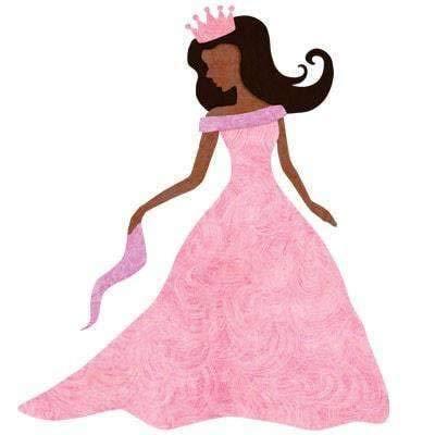 Princess Decal Sticker for Princess Room Decor (Black Hair/Dark Skin) -