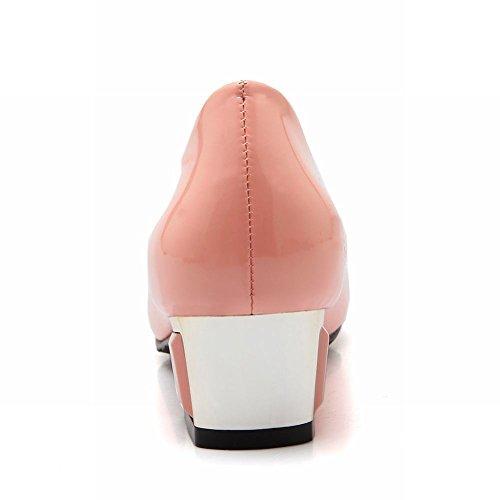 Latasa Kvinna Mode Syntetiskt Patentläder Mid Häl Chunky Pumpar Skor Rosa