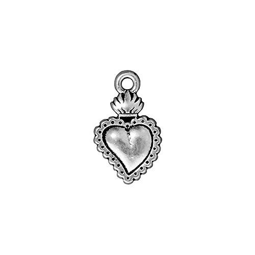 - TierraCast Charm Heart Milagro, 21.5mm, Antiqued Fine Silver Plated Pewter, 4-Pack
