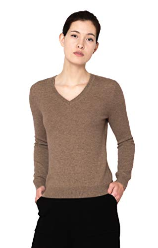 Goyo Cashmere Women's 100% Pure Cashmere Sweater - Long Sleeve V-Neck Pullover (Light Camel, M)