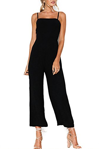 Alelly Womens Solid Color Backless Sleeveless Wide Long Pants Jumpsuit Rompers