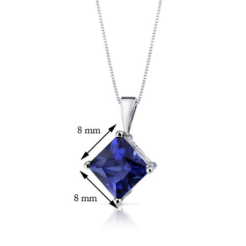 Revoni 14ct or blanc 585/1000 princesse Coupe 3.50 Carats saphir bleu pendentif Collier