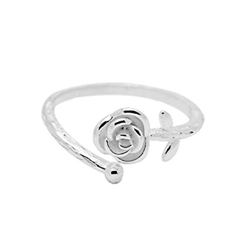 925 Sterling Silver Statement Adjustable Ring for Women Love Heart, Teardrop, Cat, Pearl Charms (Valentine's Rose - Designs Ring Finger