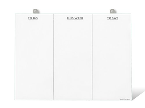 To Do List Glass Whiteboard - Frameless and Erasable - Durable Glass - Office Organizer - to Do List Whiteboard- Perfect for Home or Office (with Metal Tab) by Touch Horizon llc.