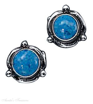 Sterling Silver Flower Concho Round Simulated Denim Lapis Post Stud Earrings