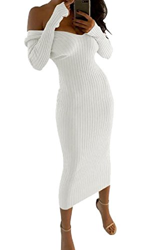 White Comfy Long Women Neck V Beach Sweater Off Dress Sleeve Shoulder Maxi SR7SPw