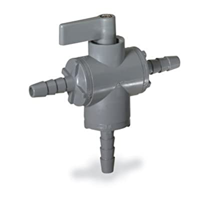 """Ball valve, 3-way, 3/8"""" barb - PVC w/EPDM seals from COLE-PARMER"""